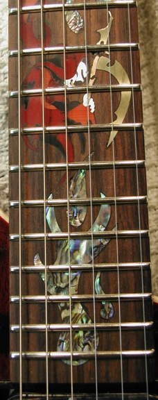 Wizard of Skull Custom Inlay Washburn Guitar Fretboard Shell