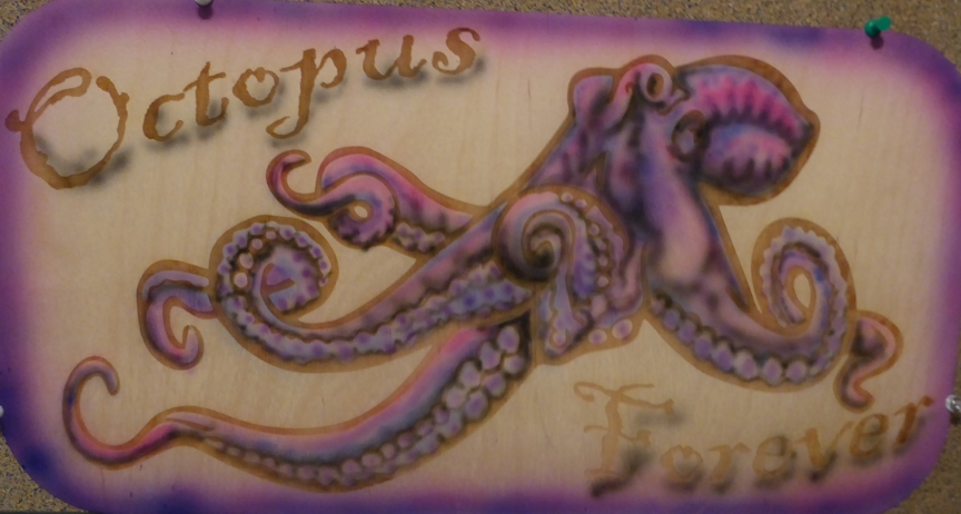 Airbrush,Sign Art,Lasher Etching,Shark Inlay,Airbrushed,Octopus