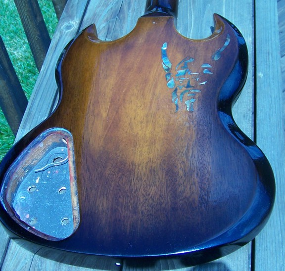 Custom Inlay,Guitar Inlay,Gibson,Gibson SG,Shark Inlay,The Viking,Tabacco Burst